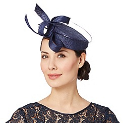 J by Jasper Conran - Designer navy curled bow pillbox fascinator