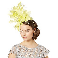 J by Jasper Conran - Designer lime stacked feather flower fascinator