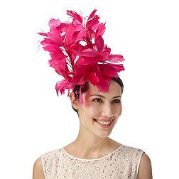 Designer bright pink stacked feather flower fascinator