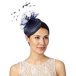 J by Jasper Conran - Designer navy feather and bead detail button fascinator