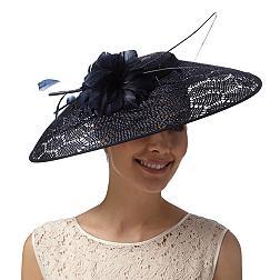 Designer navy honeycomb down brim hat