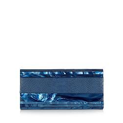 Designer navy snake skin print clutch bag