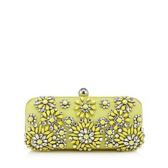 J by Jasper Conran - Designer lime floral stone clutch bag