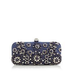 Designer navy floral stone clutch bag