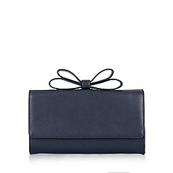 J by Jasper Conran - Designer navy crosshatch bow clutch bag