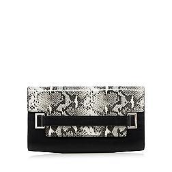 Designer grey snake flapover clutch bag