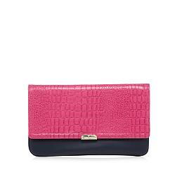 Designer bright pink mock croc colour block clutch bag
