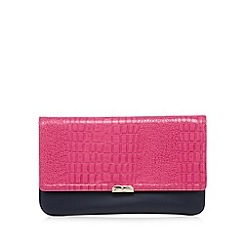 J by Jasper Conran - Designer bright pink mock croc colour block clutch bag