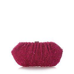 Designer bright pink sequin clutch bag