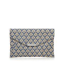 Designer navy diamond graphic clutch bag