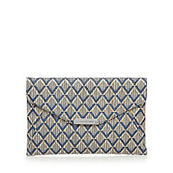 J by Jasper Conran - Designer navy diamond graphic clutch bag
