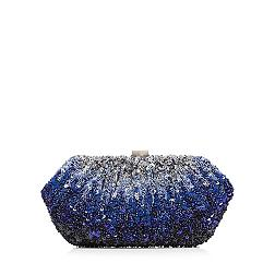 Designer blue ombre beaded clutch bag