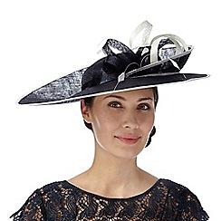 J by Jasper Conran - Designer navy upturned brim two tone hat fascinator