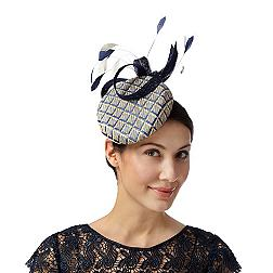 Designer navy graphic looped bow button fascinator