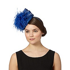 Star by Julien Macdonald - Designer bright blue feather puffball beret fascinator
