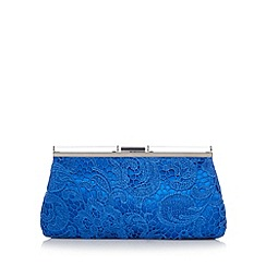 Star by Julien Macdonald - Designer bright blue lace overlay clutch bag