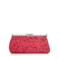 Star by Julien Macdonald - Designer bright pink lace overlay clutch bag