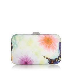 Designer silver butterfly print clutch bag