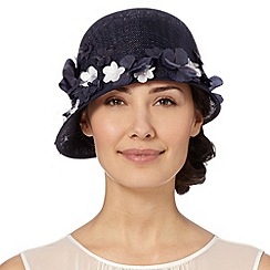 Top Hat by Stephen Jones - Designer navy botanical cloche hat
