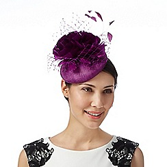 Star by Julien Macdonald - Designer purple veiled flower button fascinator