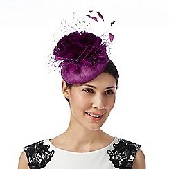 Star by Julien Macdonald - Designer purple veiled flower button fascinator