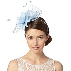 Principles by Ben de Lisi - Designer pale blue mesh bow and flower fascinator
