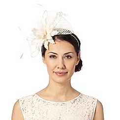 Principles by Ben de Lisi - Designer cream mesh bow and flower fascinator