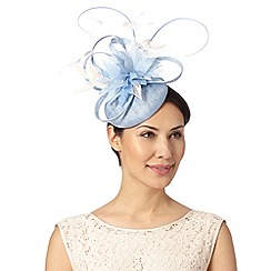Principles by Ben de Lisi - Designer pale blue feather and lace flower button fascinator