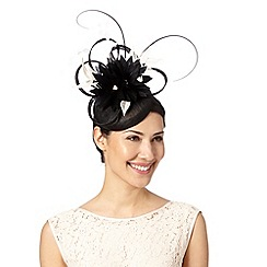 Principles by Ben de Lisi - Designer black feather and lace flower button fascinator