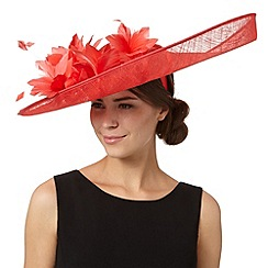 Principles by Ben de Lisi - Designer red oversized floral saucer fascinator