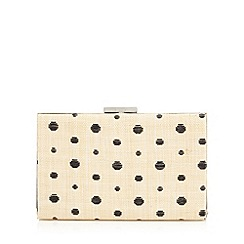 Principles by Ben de Lisi - Designer natural polka dot straw clutch bag