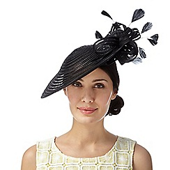 Principles by Ben de Lisi - Designer black striped saucer bow fascinator