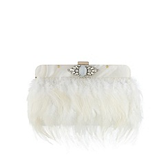 No. 1 Jenny Packham - Designer ivory feather stone clutch bag