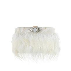 No. 1 Jenny Packham - Designer ivory feather stone clutch bag