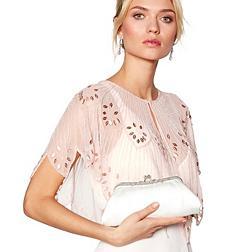 Designer ivory satin floral frame clutch bag
