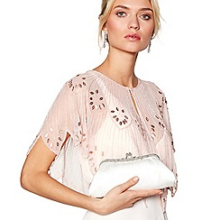 No. 1 Jenny Packham - Designer ivory satin floral frame clutch bag