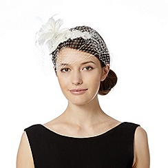 No. 1 Jenny Packham - Designer ivory embroidered lace veil fascinator