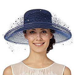 Top Hat by Stephen Jones - Designer navy pearly veil hat