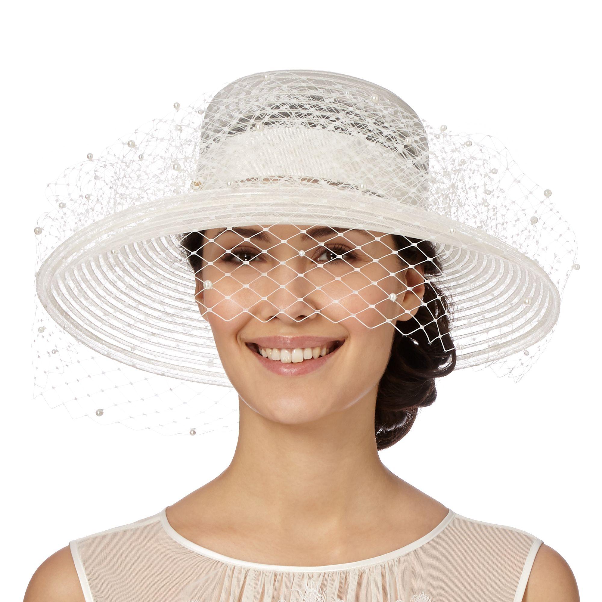 top hat by stephen jones womens designer ivory pearly veil