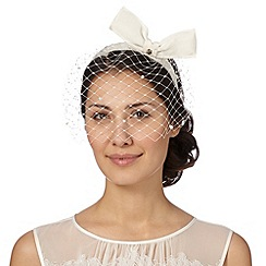 Top Hat by Stephen Jones - Designer cream bow veil fascinator