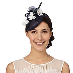 Top Hat by Stephen Jones - Designer navy floral button fascinator