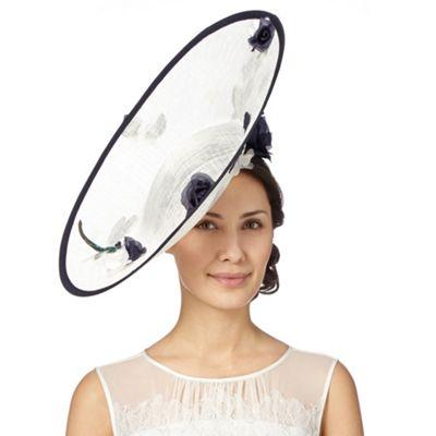 c6a60208afc6c Top Hat by Stephen Jones Designer cream floral applique upturned saucer  fascinator