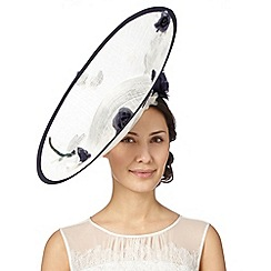 Top Hat by Stephen Jones - Designer cream floral applique upturned saucer fascinator