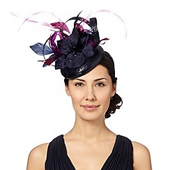 Top Hat by Stephen Jones - Designer navy embellished corsage button fascinator