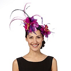 Top Hat by Stephen Jones - Designer purple feather corsage fascinator