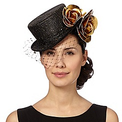 Top Hat by Stephen Jones - Designer black metallic top hat fascinator