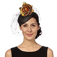 Top Hat by Stephen Jones - Designer black metallic button fascinator