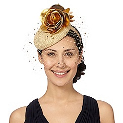 Top Hat by Stephen Jones - Designer natural metallic button fascinator