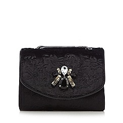 RJR.John Rocha - Black velvet brocade embellished mini shoulder bag
