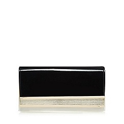 Principles by Ben de Lisi - Black patent double fold over clutch bag